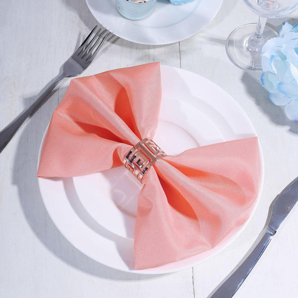 "5 Pack - 20""x20"" Coral Polyester Linen Napkins"