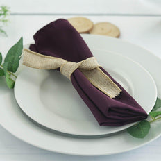 "5 Pack 20""x20"" Eggplant Polyester Linen Napkins"