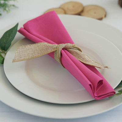 "20x20"" FUSHIA Wholesale Polyester Linen Napkins For Wedding Birthday Party Tableware - 5 PCS"