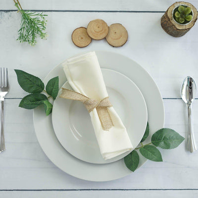 "20x20"" IVORY Wholesale Polyester Linen Napkins For Wedding Birthday Party Tableware - 5 PCS"