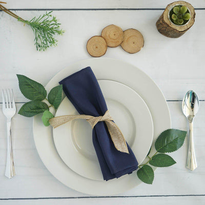 "5 Pack 20x20"" Navy Polyester Linen Napkins"
