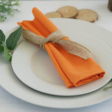 "5 Pack 20""x20"" Orange Polyester Linen Napkins"
