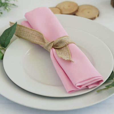 "5 Pack 20x20"" Pink Polyester Linen Napkins"