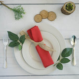 "5 Pack 20x20"" Red Polyester Linen Napkins"