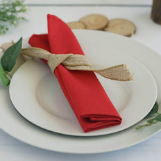 "5 Pack 20""x20"" Red Polyester Linen Napkins"
