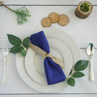 "5 Pack 20""x20"" Royal Blue Polyester Linen Napkins"