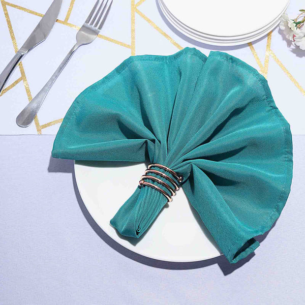 "5 Pack 20""x20"" Teal Polyester Linen Napkins"