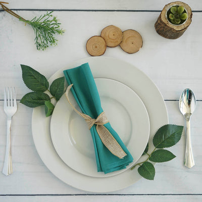 "5 Pack 20""x20"" Turquoise Polyester Linen Napkins"