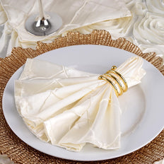 5 Pack 17''x17'' Ivory Pintuck Napkins