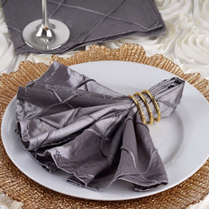 5 Pack 17''x17'' Silver Pintuck Napkins