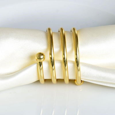 4 Pack Gold Plated Aluminium Spiral Napkin Rings