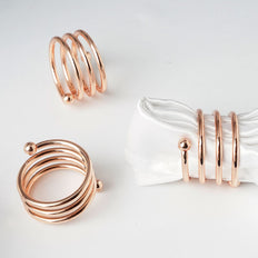 4 Pack Rose Gold Plated Aluminium Spiral Napkin Rings
