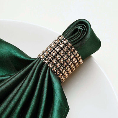 10 Pack Antique Gold Diamond Rhinestone Napkin Ring With Velcro