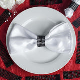 Wholesale BLACK Diamond Rhinestone Napkin Ring With Velcro For Wedding Party Banquet Table Decoration - Set of 10