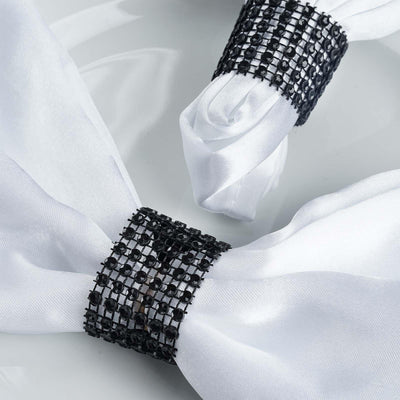 10 Pack Black Diamond Rhinestone Napkin Ring With Velcro