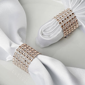 10 Pack Champagne Diamond Rhinestone Napkin Ring With Velcro