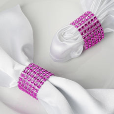 10 Pack Fushia Diamond Rhinestone Napkin Ring With Velcro