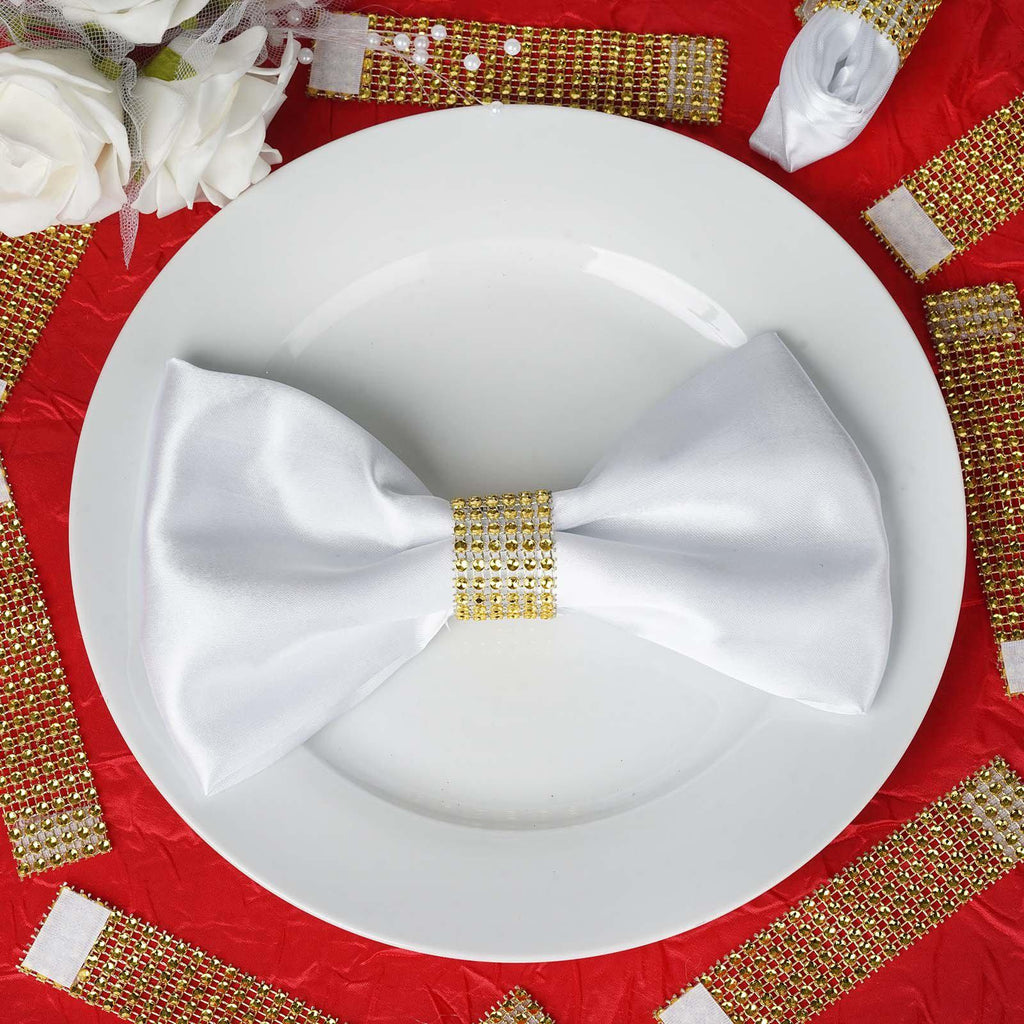 10 Pack Gold Diamond Rhinestone Napkin Ring With Velcro Tableclothsfactory