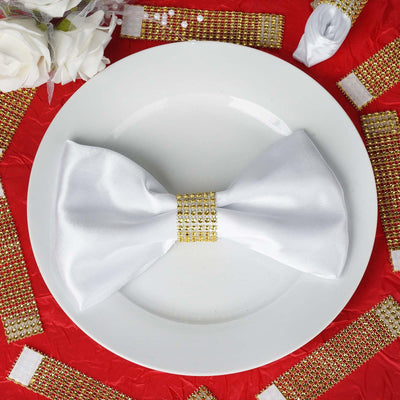 Wholesale GOLD Diamond Rhinestone Napkin Ring With Velcro For Wedding Party Banquet Table Decoration - Set of 10