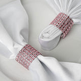 10 Pack Pink Diamond Rhinestone Napkin Ring With Velcro