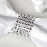 Wholesale SILVER Diamond Rhinestone Napkin Ring With Velcro For Wedding Party Banquet Table Decoration - Set of 10
