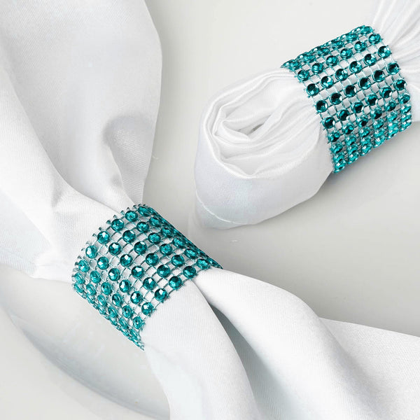 10 Pack Turquoise Diamond Rhinestone Napkin Ring With Velcro