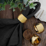 4 Pack Metallic Gold Napkin Rings with Handcrafted Woven String Design