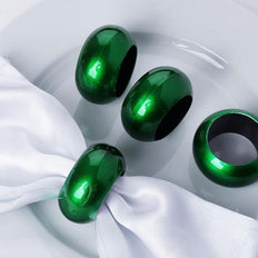 4 PCS Wholesale Green Acrylic Napkin Rings For Wedding Birthday Party Tableware