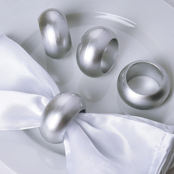 Pack of 4 | Silver Acrylic Napkin Rings
