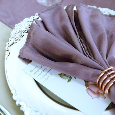 5 Pack - 20x20 inches Violet Amethyst Satin Linen Napkins