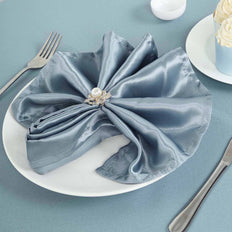 "5 Pack 20""x 20"" Dusty Blue Satin Linen Napkins"