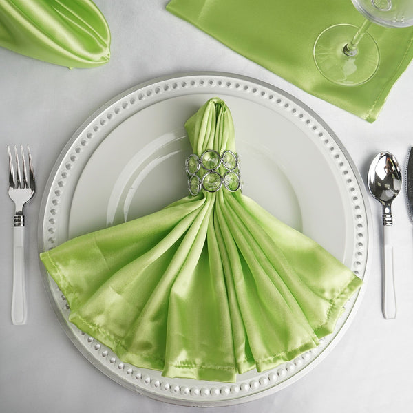 "5 Pack | 20""x 20"" Apple Green Satin Linen Napkins"