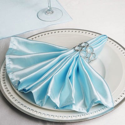 "5 Pack 20""x 20"" Light Blue Satin Linen Napkins"