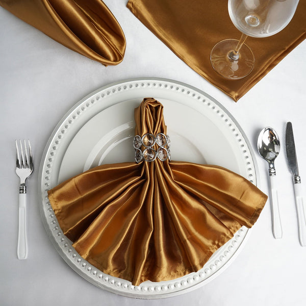 "5 Pack | 20""x 20"" Gold Satin Linen Napkins"
