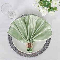 "5 Pack 20""x 20"" Sage Green Satin Linen Napkins - Clearance SALE"
