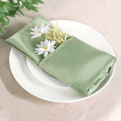"20""x20"" Sage Green Wholesale SATIN Linen Napkins For Wedding Birthday Party Tableware - 5 PCS"