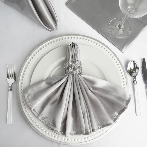 "5 Pack | 20""x 20"" Silver Satin Linen Napkins"