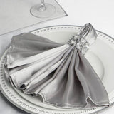 "5 Pack 20""x 20"" Silver Satin Linen Napkins"