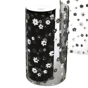 "BLACK Sheer Nylon Organza Flower Printed Wedding Party Decorative Fabric Bolt - 6"" x 10 Yards"