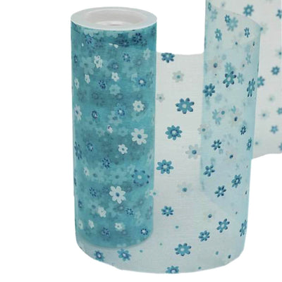 "TURQUOISE Sheer Nylon Organza Flower Printed Wedding Party Decorative Fabric Bolt - 6"" x 10 Yards"