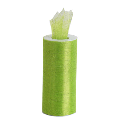 6 Inch x 10 Yards | Apple Green Shimmering Striped Organza Tulle By The Bolt#whtbkgd