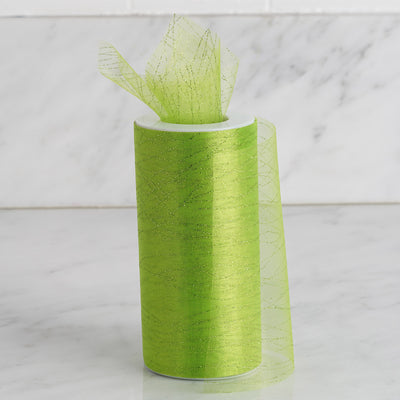 6 Inch x 10 Yards | Apple Green Shimmering Striped Organza Tulle By The Bolt