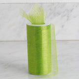 "6"" x 10 Yards Apple Green Shimmering Striped Organza Tulle By The Bolt - Clearance SALE"