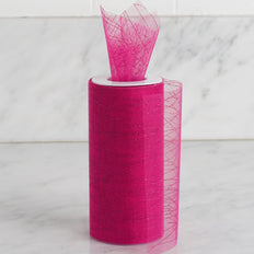 6 Inch x 10 Yards | Fushia Shimmering Striped Organza Tulle By The Bolt