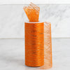"6"" x 10 Yards Orange Shimmering Striped Organza Tulle By The Bolt - Clearance SALE"