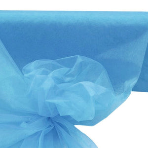 "SERENITY BLUE Crystal Sheer Organza Wedding Party Dress Fabric Bolt - 54"" x 40 Yards"