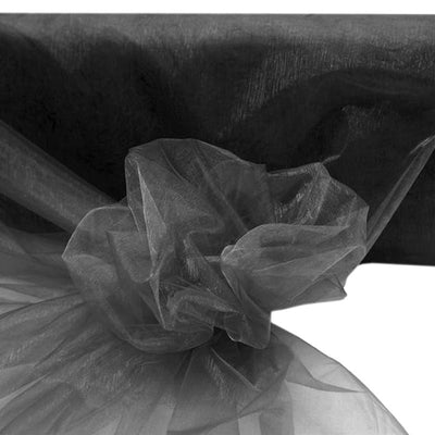 "BLACK Crystal Sheer Organza Wedding Party Dress Fabric Bolt - 54"" x 40 Yards"