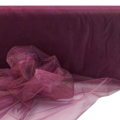 "BURGUNDY Crystal Sheer Organza Wedding Party Dress Fabric Bolt - 54"" x 40 Yards"