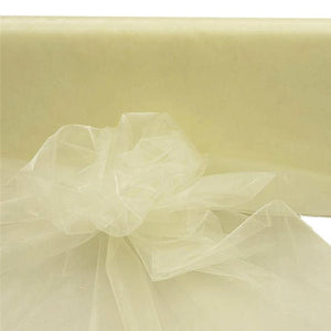 "IVORY Crystal Sheer Organza Wedding Party Dress Fabric Bolt - 54"" x 40 Yards"