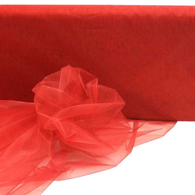 "RED Crystal Sheer Organza Wedding Party Dress Fabric Bolt - 54"" x 40 Yards"